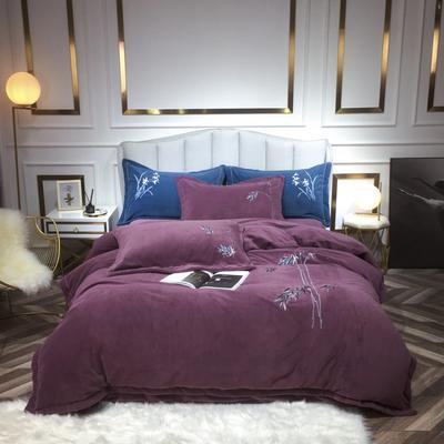 2020新款牛奶绒刺绣四件套 1.8m床单款四件套 佛-紫