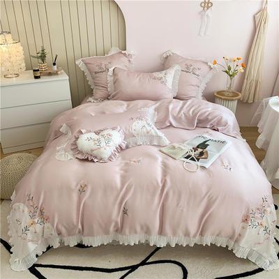 2021新款80s兰精天丝刺绣四件套 1.8m床单款四件套 仙梦-裸紫