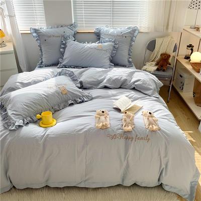 2021新款水洗棉刺绣四件套- 三只小熊 1.8m床单款四件套 蓝