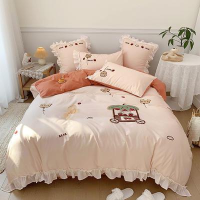 2021新款水洗棉毛巾绣系列四件套 1.8m床单款四件套 梦幻车