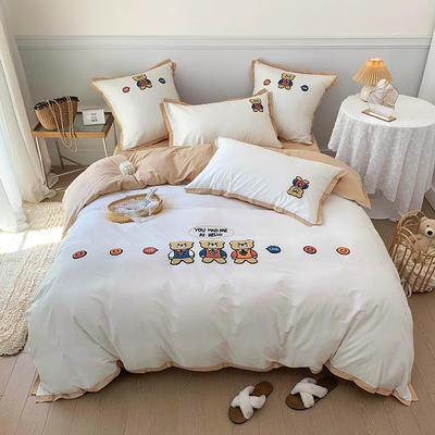 2021新款水洗棉毛巾绣系列四件套 1.8m床单款四件套 童年