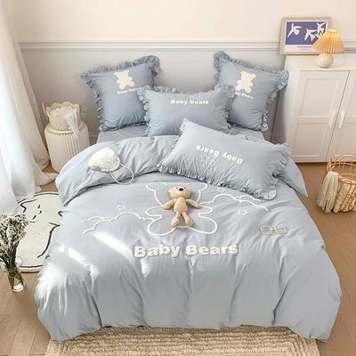 2021新款水洗棉毛巾绣系列四件套 1.8m床单款四件套 星空