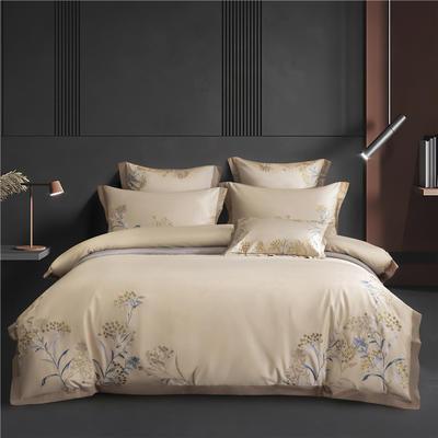 2021新款60支长绒棉四件套系列-蜜蕊 1.8m床单款四件套 蜜蕊-咖色