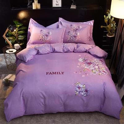 2019新款-卡伦家纺色织大版印花四件套 1.8m(6英尺)床 暗香(紫)