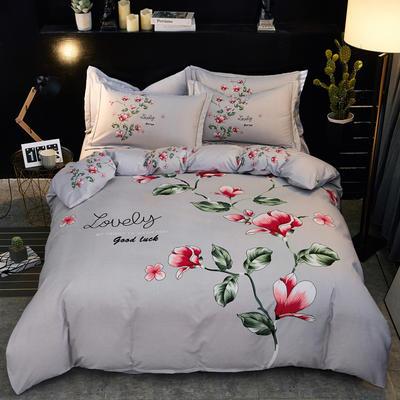 2019新款-卡伦家纺色织大版印花四件套 1.8m(6英尺)床 俏佳人(灰)