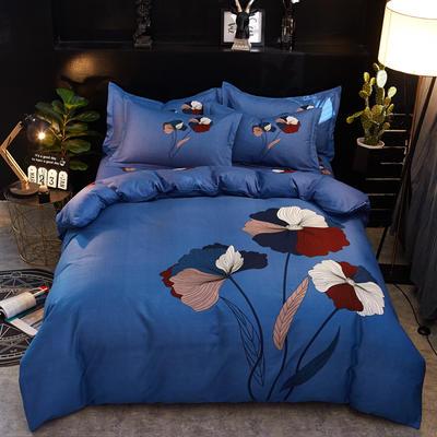2019新款-卡伦家纺色织大版印花四件套 1.8m(6英尺)床 五色花