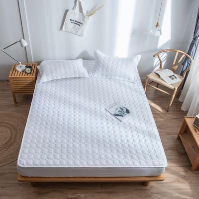 2019新款四季款-磨毛夹棉绗缝床笠单品 120cmx200cm 纯白色