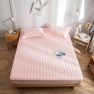 2019新款四季款-磨毛夹棉绗缝床笠单品 120cmx200cm 淡粉色
