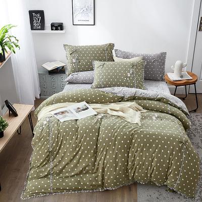 2019新款-韩式休闲简约磨绒四件套 床单款1.8m(6英尺)床 简单生活(豆绿)