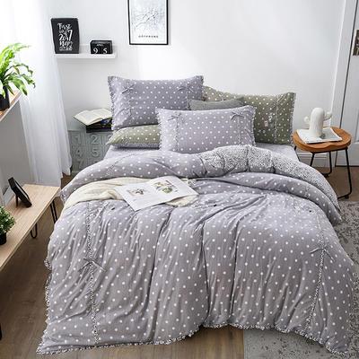 2019新款-韩式休闲简约磨绒四件套 床单款1.8m(6英尺)床 简单生活(银灰)