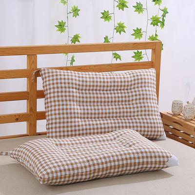 特价枕芯可水洗格子定型保健枕头枕芯特惠(48x74cm) 驼色