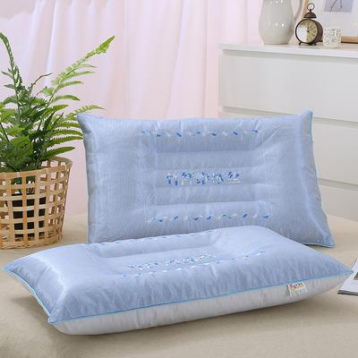 枕芯 夏季竹纤维冰丝单人枕头枕芯蓝色粉色(48*74) 蓝色