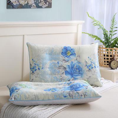 枕芯 夏季竹纤维冰丝枕牡丹花单人枕头枕芯 蓝色