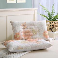 夏季竹纤维冰丝枕牡丹花单人枕头枕芯 黄色