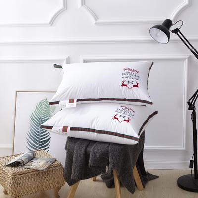 新款枕芯全棉枕头羽丝绒单人枕头芯可水洗枕 圣诞鹿羽丝枕
