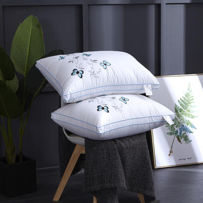 新款枕芯全棉枕头羽丝绒单人枕头枕芯 蝶恋花