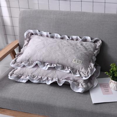 全荞麦枕芯 夹棉枕头水洗棉全荞麦枕头枕芯 高雅灰