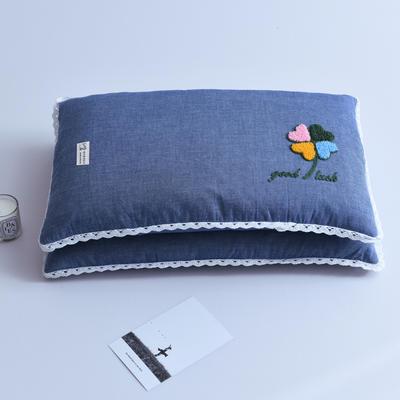 爆款枕芯全棉枕头水洗棉毛巾绣全荞麦枕头枕芯 四叶草