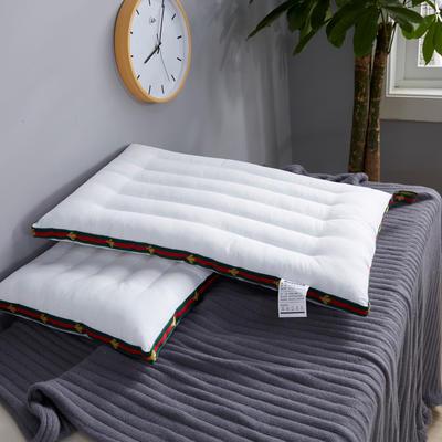 全棉枕芯酒店红色织带立体护颈羽丝绒低枕头枕芯 立体护颈低枕48*74cm/一只