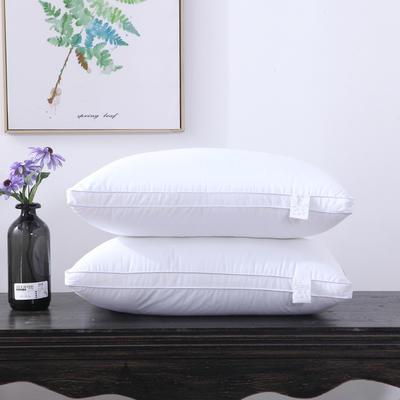 全棉枕芯酒店立体纯白防雨布羽丝绒枕头高中低枕芯 纯白48*74/低枕/一个