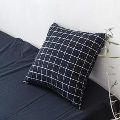 全棉色织水洗棉单抱枕套 45x45cm(/对) 藏青方格