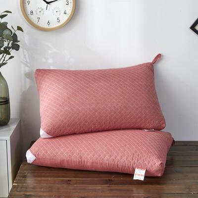 新款枕芯全棉枕头绗绣水洗热熔枕头枕芯 红色48*74cm/个
