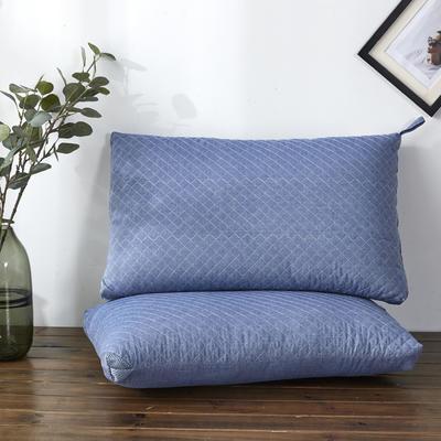 新款枕芯全棉枕头绗绣水洗热熔枕头枕芯 蓝色48*74cm/个