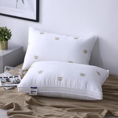 新款枕芯全棉枕头酒店立体皇冠绣羽丝绒枕头枕芯 皇冠48*74cm/个
