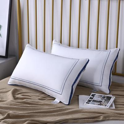 新款枕芯全棉枕头酒店织带回字绣羽丝绒枕头枕芯 蓝色48*74cm/个