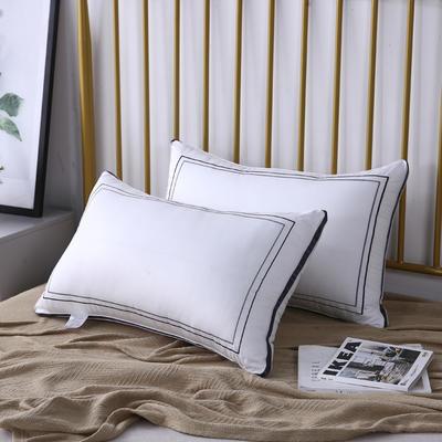 新款枕芯全棉枕头酒店织带回字绣羽丝绒枕头枕芯 深紫色48*74cm/个