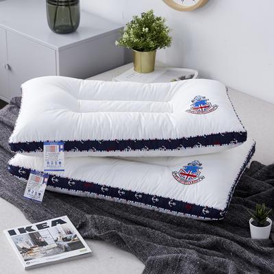 新款枕芯全棉枕头立体锚链米字旗羽丝绒定型枕头枕芯 米字旗48*74cm/个