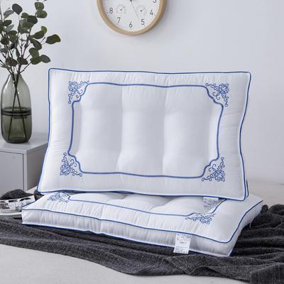 新款枕芯全棉枕头四角绣富贵花开羽丝绒定型低枕头枕芯 富贵花开48*74cm/个