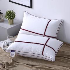 2018新款十字蕾丝花边织带全棉酒店羽丝绒枕头枕芯 红色48*74cm/个