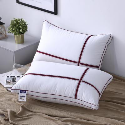 新款枕芯十字蕾丝花边织带全棉枕头酒店羽丝绒枕头枕芯 红色48*74cm/个