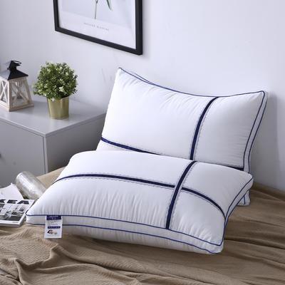 新款枕芯十字蕾丝花边织带全棉枕头酒店羽丝绒枕头枕芯 蓝色48*74cm/个