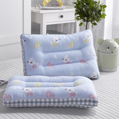 新款枕芯全棉新款六层纱儿童枕头枕芯 小狗-蓝30*50cm/个