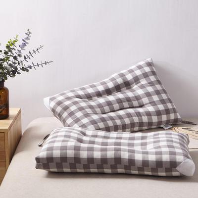 2019新款枕芯 水洗棉定型水洗枕头 英伦大格48*74cm