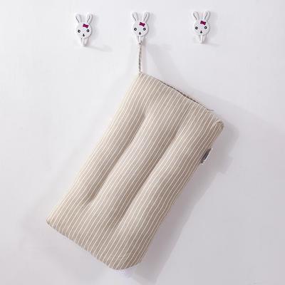 2019新款无暇款色织全棉水洗儿童枕头 咖色-条纹-30*50cm/个
