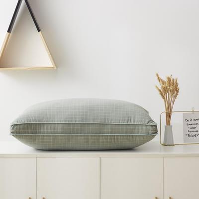 2019新款枕头 立体水洗棉羽丝枕芯-48*74cm/个 格子绿