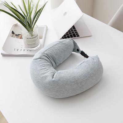 2019新款枕芯 细微纳米粒子U型枕头-15.6*65cm/个 条纹-蓝(细微纳米粒子填充)