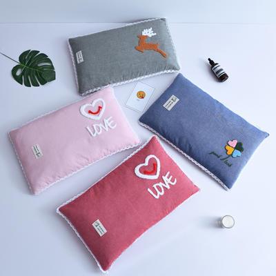 2020新款枕芯 水洗棉毛巾绣荞麦枕芯-30*50cm/个 爱心粉