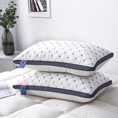 2020新款特价枕芯 磨毛蓝网绗绣小方格枕-48*74cm/个 小方格枕