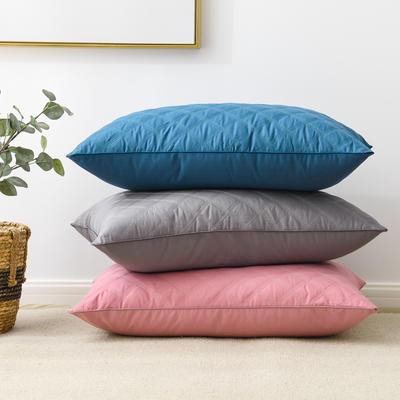 2020新款枕头 全棉彩色绗绣枕芯-48*74cm/个 粉色单边