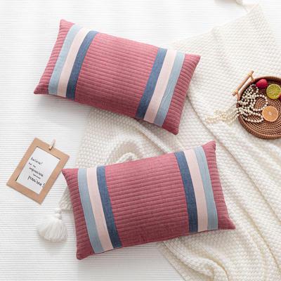 2020新款枕芯 全棉条纹水洗棉全荞麦枕头-30*50cm/个 红色