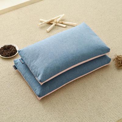 2020新款枕芯 双色水洗棉全荞麦枕头 粉蓝56*30cm/个学生款