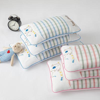 2020新款枕芯 竹纤维儿童全荞麦枕头/个 条纹小象粉小号