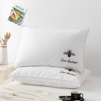 2020新款枕头 彩色双边绣花小蜜蜂枕芯-48*74cm/个 小蜜蜂白色立体