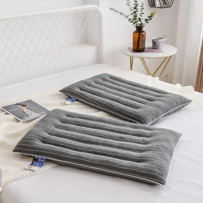 2021新款条纹控低枕枕头枕芯48*74cm/个 灰色