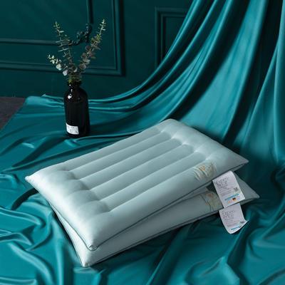 2021新款长绒棉艾草低度枕头枕芯48*74cm/个 蓝色