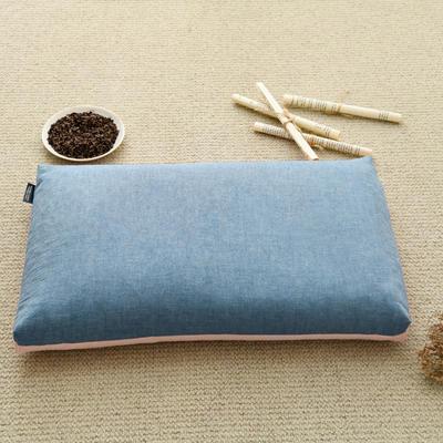 2021新款双色水洗棉全荞麦枕头枕芯 56*30 cm 学生款粉蓝/个